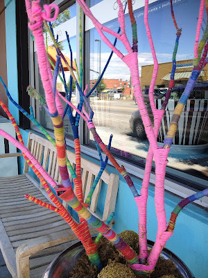 Yarn Bombing at Big City Coffee
