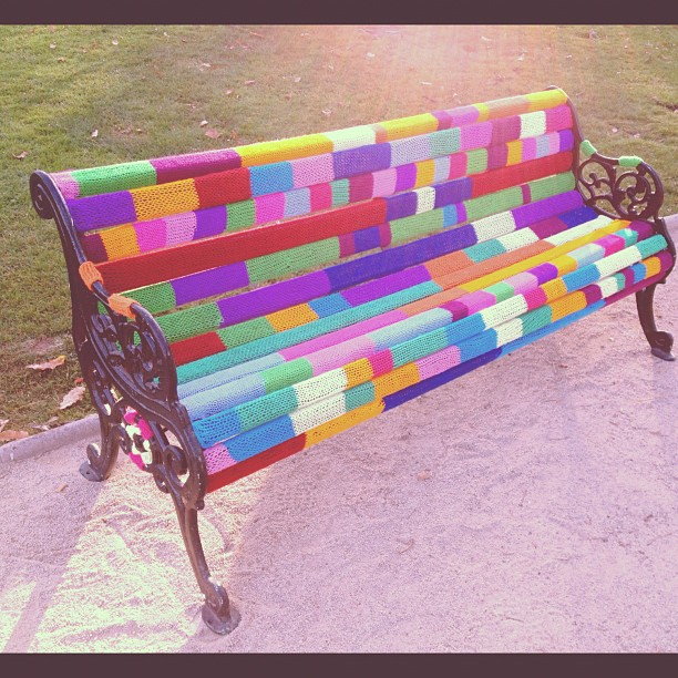 yarn bombing, yarn bombed park bench