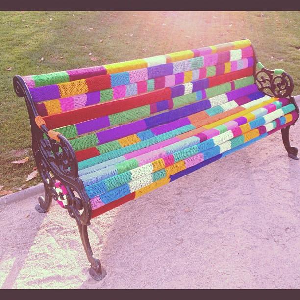 yarn bombing, yarn bombed park bench