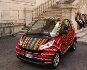 yarn bombing, yarn bombed car