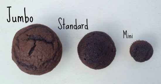jumbo standard and mini cupcakes