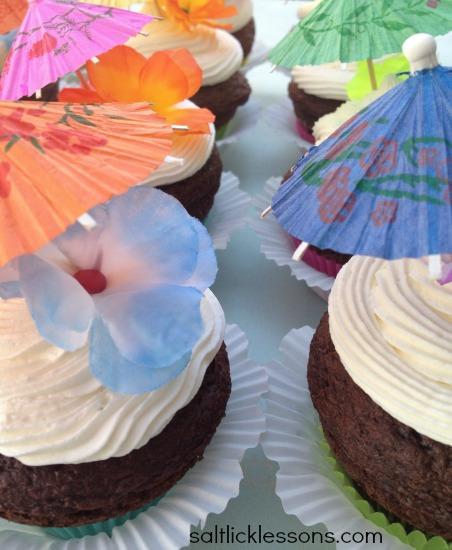 Hawaiian themed jumbo cupcakes