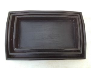 painted black wooden nesting trays