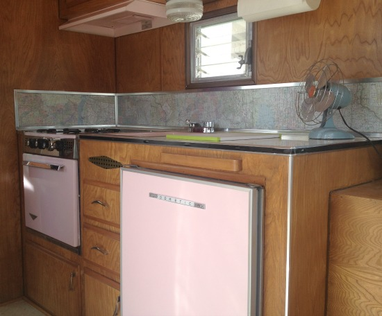 Cute pink kitchen in vintage trailer