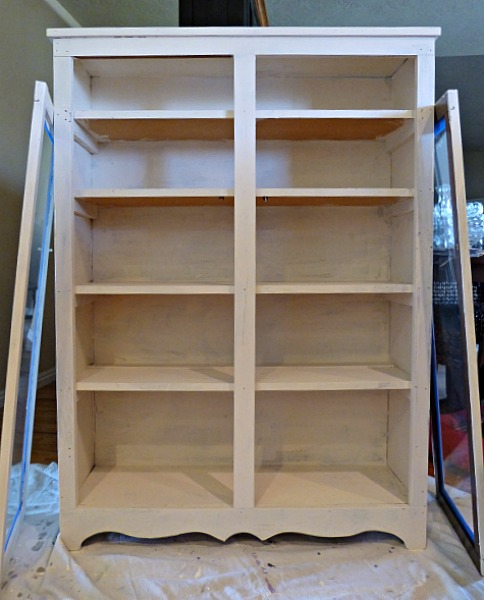 Painted bookcase DIY project primer stage