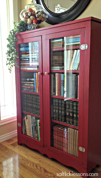 bookcase library pin pinterest lacquer styling bookshelf red