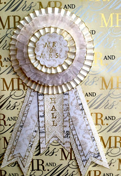 Paper Rosette Wedding Gift Topper Finished