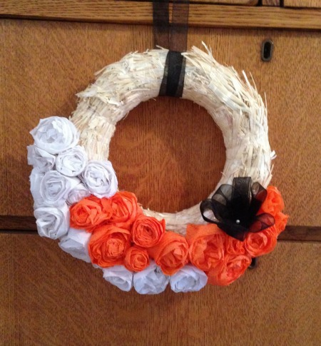 Crepe Paper Flowers Halloween Wreath