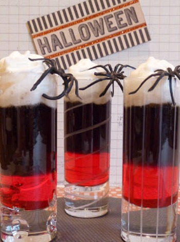 Halloween Spirits, black vodka layered cocktail