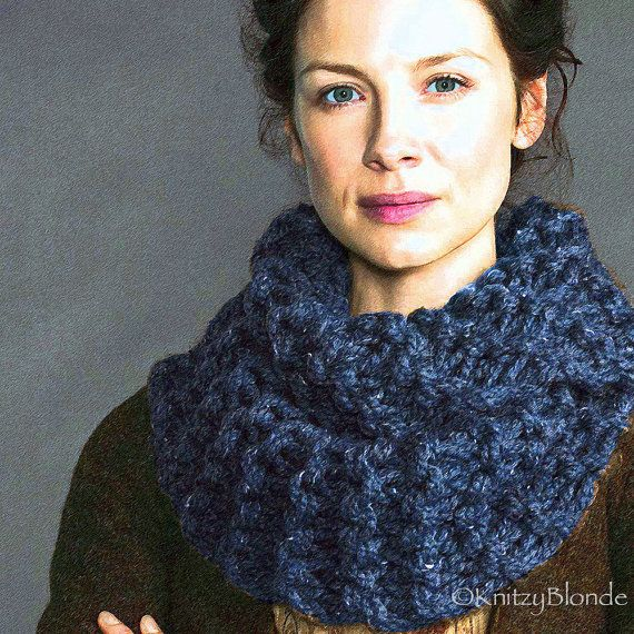 infinity scarf, outlander, knitting