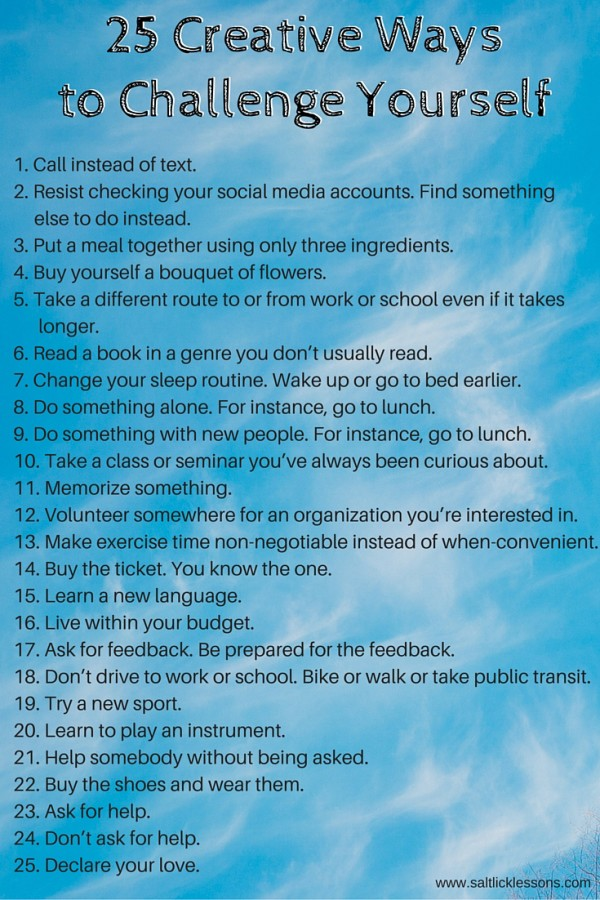 ways to challenge yourself / www.saltlicklessons.com