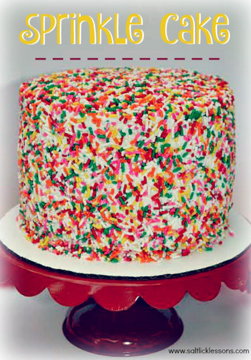 A Sprinkle Cake is a ridiculous but super fun excuse to make a colorful, sugary, sticky, mess all over your kitchen. A Sprinkle Cake can probably be any kind of cake, but ours was a basic vanilla cake that was then frosted and smothered (and we do mean smothered) in sprinkles.