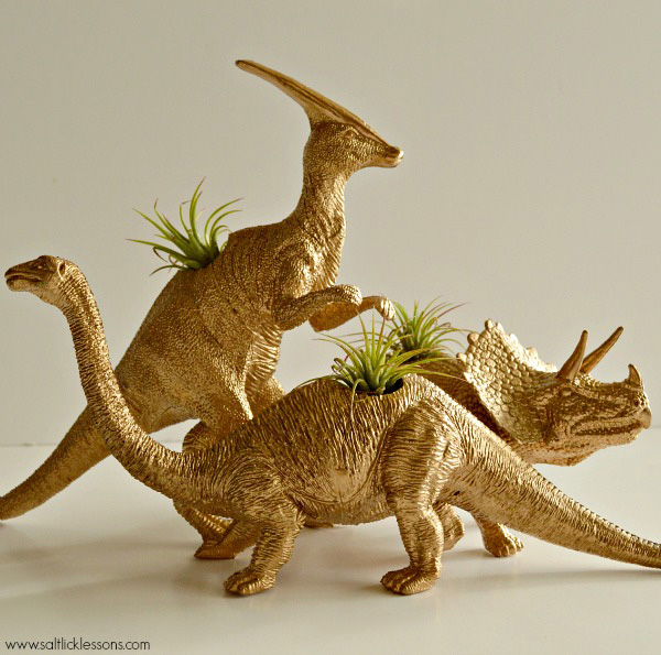 Gold Painted Dinosaur Air Plant Holders
